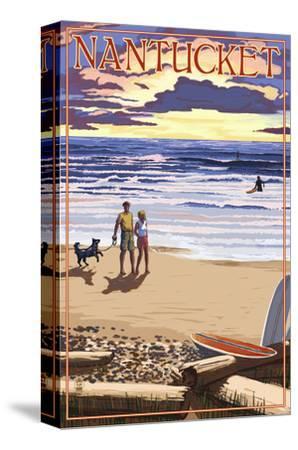 Nantucket, Massachusetts - Sunset Beach Scene-Lantern Press-Stretched Canvas Print