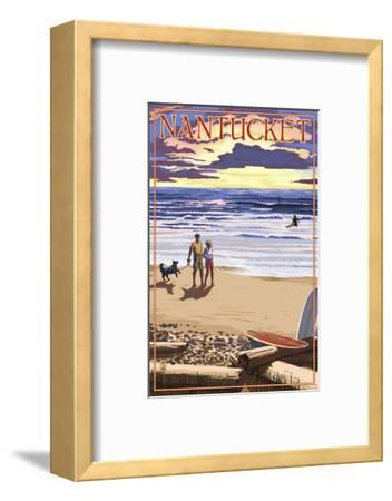 Nantucket, Massachusetts - Sunset Beach Scene-Lantern Press-Framed Art Print