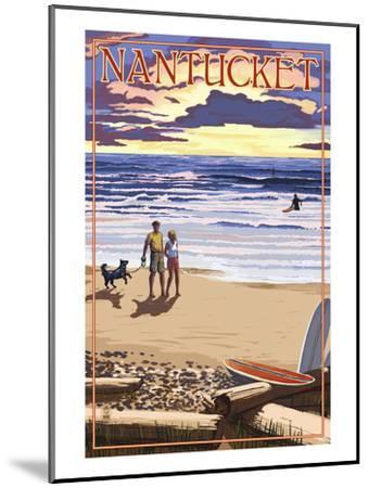 Nantucket, Massachusetts - Sunset Beach Scene-Lantern Press-Mounted Art Print