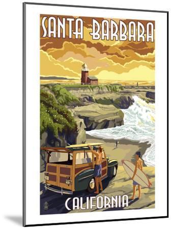Santa Barbara, California - Woody and Lighthouse-Lantern Press-Mounted Art Print