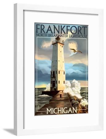 Frankfort Lighthouse, Michigan-Lantern Press-Framed Art Print
