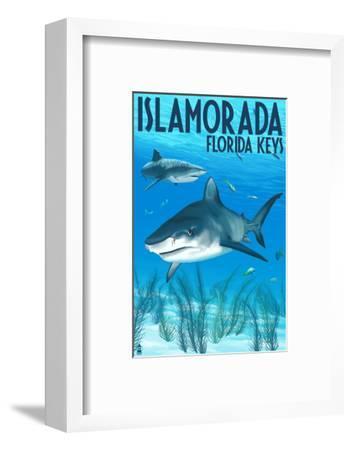 Islamorada, Florida Keys - Tiger Shark-Lantern Press-Framed Art Print