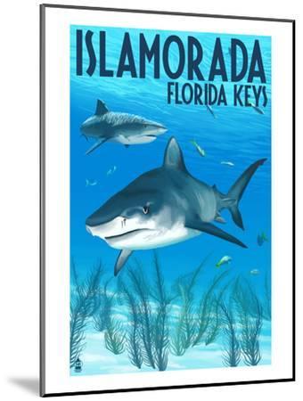 Islamorada, Florida Keys - Tiger Shark-Lantern Press-Mounted Art Print