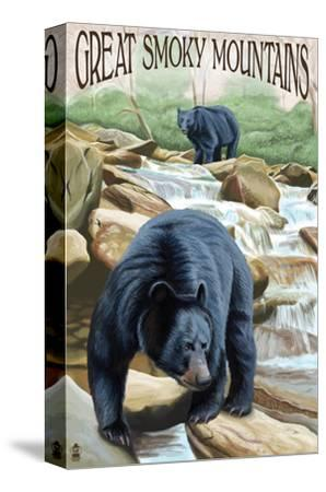 Black Bears Fishing - Great Smoky Mountains-Lantern Press-Stretched Canvas Print