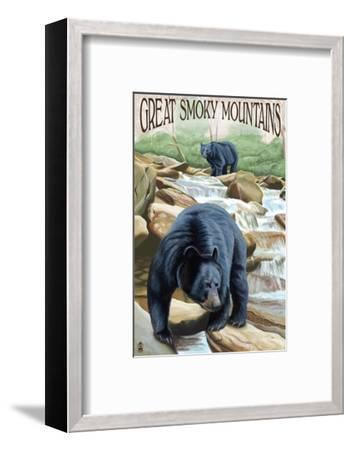 Black Bears Fishing - Great Smoky Mountains-Lantern Press-Framed Art Print