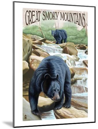 Black Bears Fishing - Great Smoky Mountains-Lantern Press-Mounted Art Print