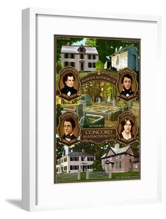 Concord, Massachusetts - Authors of Concord-Lantern Press-Framed Art Print