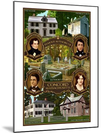 Concord, Massachusetts - Authors of Concord-Lantern Press-Mounted Art Print