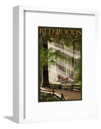Redwoods State Park - Deer and Fawns-Lantern Press-Framed Art Print
