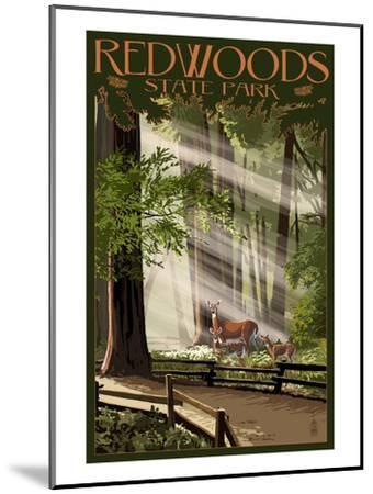 Redwoods State Park - Deer and Fawns-Lantern Press-Mounted Art Print
