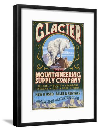 Glacier National Park, Montana - Mountain Goat-Lantern Press-Framed Art Print