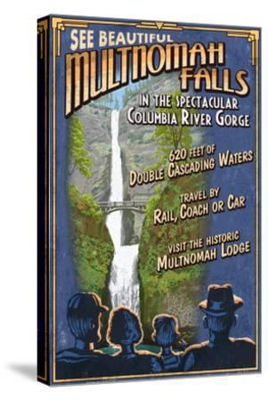 Multnomah Falls, Oregon-Lantern Press-Stretched Canvas Print
