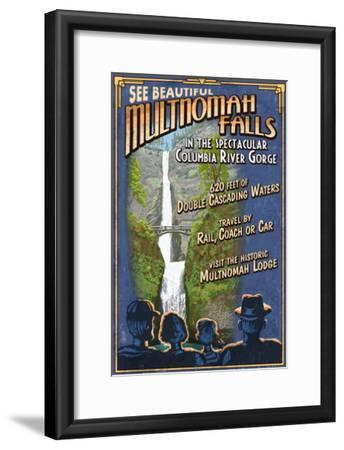 Multnomah Falls, Oregon-Lantern Press-Framed Art Print