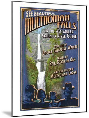 Multnomah Falls, Oregon-Lantern Press-Mounted Art Print