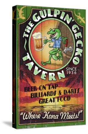 Kona, Hawaii - Gecko Tavern-Lantern Press-Stretched Canvas Print