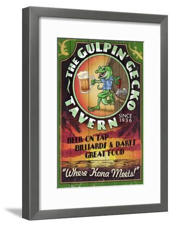 Kona, Hawaii - Gecko Tavern-Lantern Press-Framed Art Print
