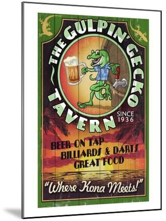 Kona, Hawaii - Gecko Tavern-Lantern Press-Mounted Art Print