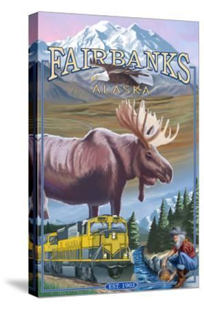 Fairbanks, Alaska - Montage Scenes-Lantern Press-Stretched Canvas Print