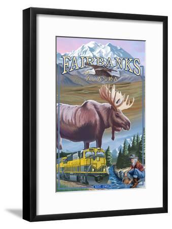 Fairbanks, Alaska - Montage Scenes-Lantern Press-Framed Art Print
