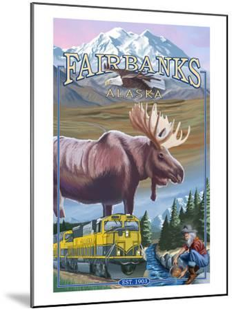 Fairbanks, Alaska - Montage Scenes-Lantern Press-Mounted Art Print