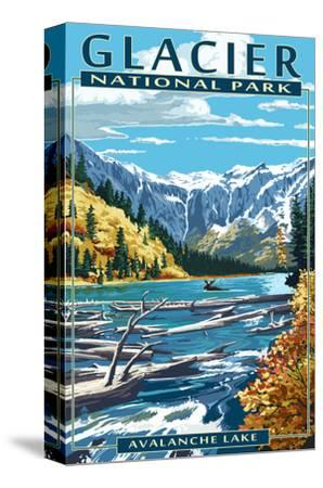 Avalanche Lake - Glacier National Park, Montana-Lantern Press-Stretched Canvas Print