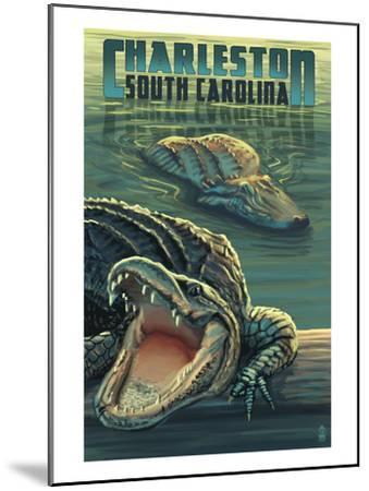 Charleston, South Carolina - Alligators Scene-Lantern Press-Mounted Art Print