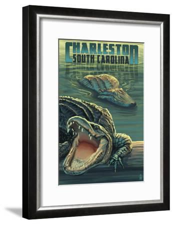 Charleston, South Carolina - Alligators Scene-Lantern Press-Framed Art Print