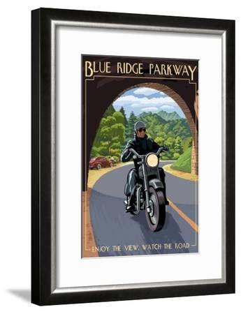 Motorcycle and Tunnel - Blue Ridge Parkway-Lantern Press-Framed Art Print