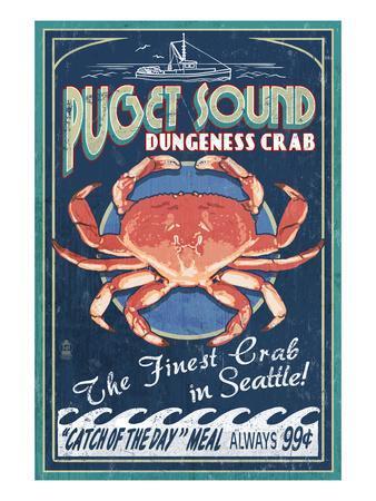 Seattle, Washington - Dungeness Crab-Lantern Press-Framed Art Print