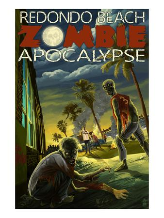 Redondo Beach, California - Zombie Apocalypse-Lantern Press-Framed Art Print