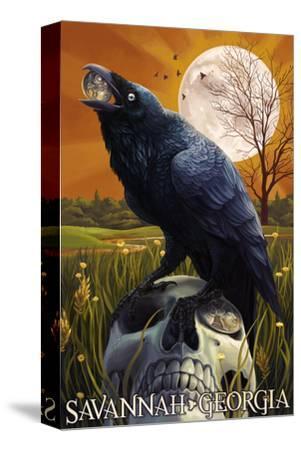 Raven and Moon - Savannah, GA-Lantern Press-Stretched Canvas Print