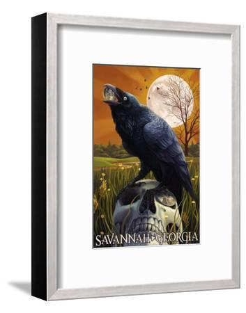 Raven and Moon - Savannah, GA-Lantern Press-Framed Art Print