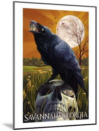 Raven and Moon - Savannah, GA-Lantern Press-Mounted Art Print