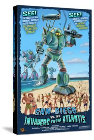 San Diego, California vs. The Atlantean Invaders-Lantern Press-Stretched Canvas Print