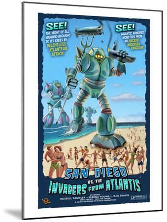 San Diego, California vs. The Atlantean Invaders-Lantern Press-Mounted Art Print
