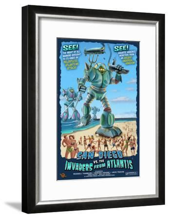 San Diego, California vs. The Atlantean Invaders-Lantern Press-Framed Art Print