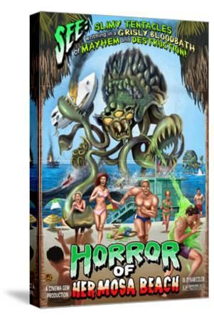 Hermosa Beach, California - Alien Attack Horror-Lantern Press-Stretched Canvas Print