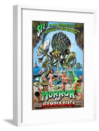 Hermosa Beach, California - Alien Attack Horror-Lantern Press-Framed Art Print