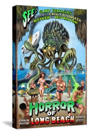 Long Beach, California - Alien Attack Horror-Lantern Press-Stretched Canvas Print