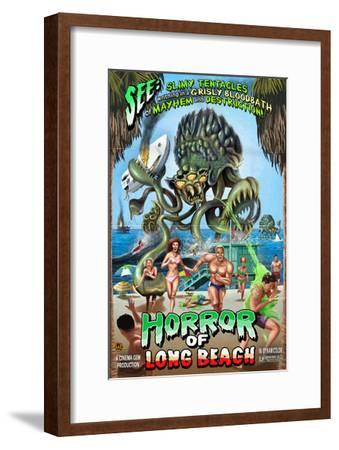 Long Beach, California - Alien Attack Horror-Lantern Press-Framed Art Print