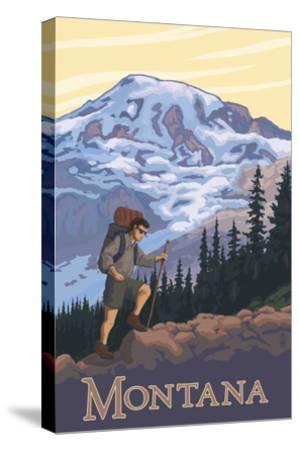 Montana - Hiking Scene-Lantern Press-Stretched Canvas Print