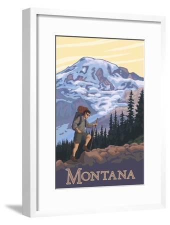 Montana - Hiking Scene-Lantern Press-Framed Art Print