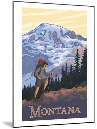 Montana - Hiking Scene-Lantern Press-Mounted Art Print