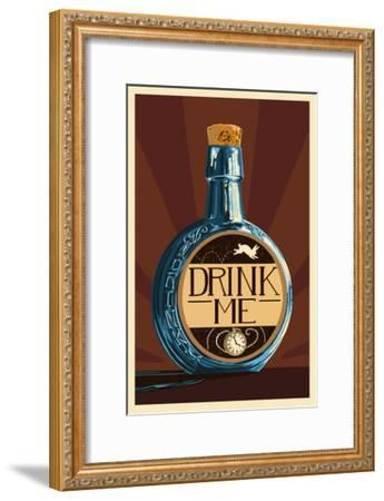 Drink Me Bottle-Lantern Press-Framed Art Print