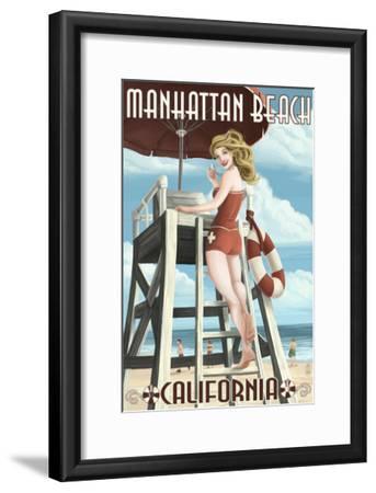 Manhattan Beach, California - Lifeguard Pinup-Lantern Press-Framed Art Print