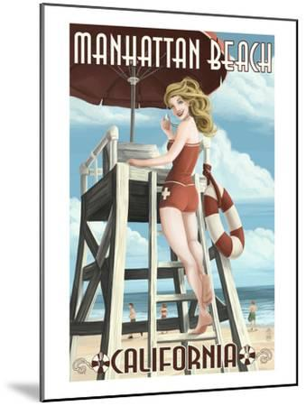 Manhattan Beach, California - Lifeguard Pinup-Lantern Press-Mounted Art Print