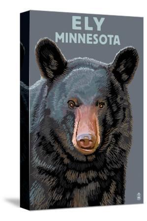 Ely, Minnesota - Bear Up Close-Lantern Press-Stretched Canvas Print