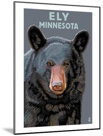 Ely, Minnesota - Bear Up Close-Lantern Press-Mounted Art Print