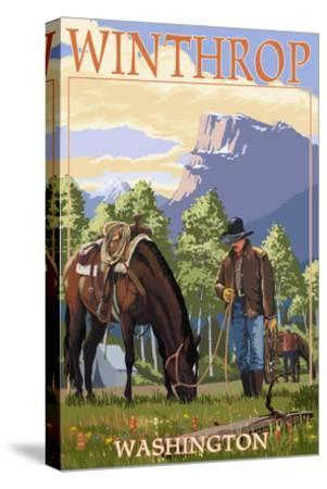 Winthrop, Washington - Cowboy and Horse in Spring-Lantern Press-Stretched Canvas Print