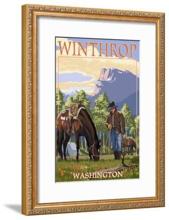 Winthrop, Washington - Cowboy and Horse in Spring-Lantern Press-Framed Art Print